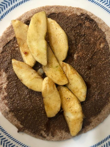 Sauteed Apples on Tortilla with Nutty Novelties Cinnamon Almond Butter | Nutty Novelties