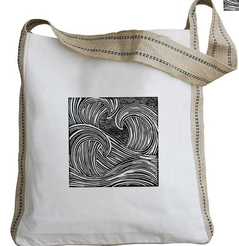 Three Waves Messenger Tote with Long Handles