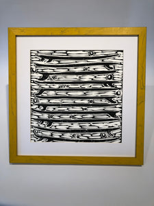 Stacked Quiver Black and White Block Print Art Yellow Frame
