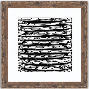 Stacked Quiver Black and White Block Print Art Rustic Frame