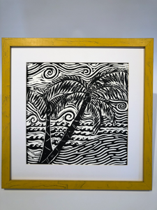 Sweet Palm Tree Black and White Block Print