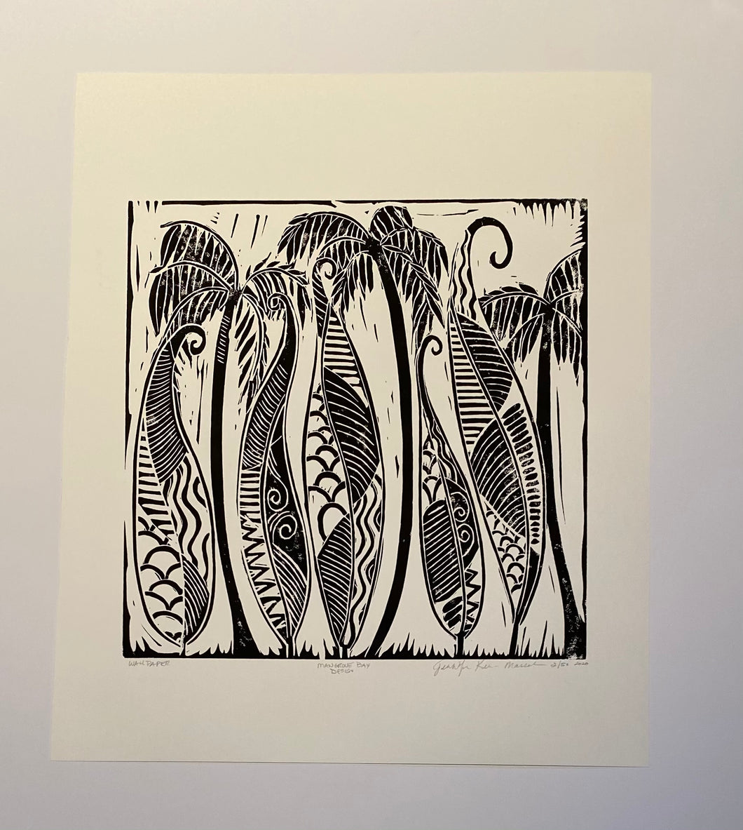Dancing HI Leaves Could be Wallpaper Coastal Palm Black & White Print
