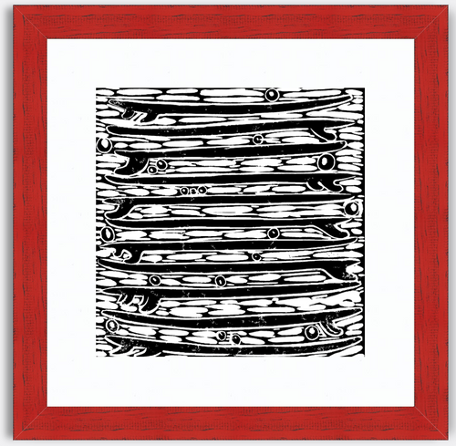 Stacked Quiver Black and White Block Print Art