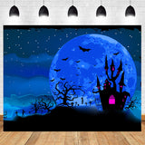 1.5m x1m / 2.2m x 1.5m Purple Haunted House By The Moon Background Backdrop