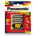 8 Pack AA Panasonic Alkaline Batteries