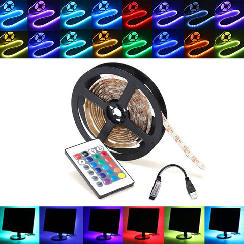 0.5m - 5m RGB LED Strip Light With USB Remote