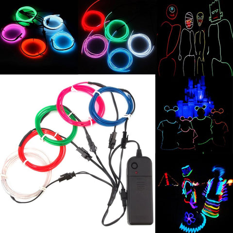 5PCS 1M Multicolor DIY Glow EL Wire Strip Light