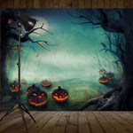2.1m x 1.5m Creepy Pumpkin Tree Photography Backdrop Background