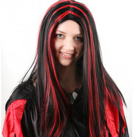 Straight Long Coloured Streak Wigs