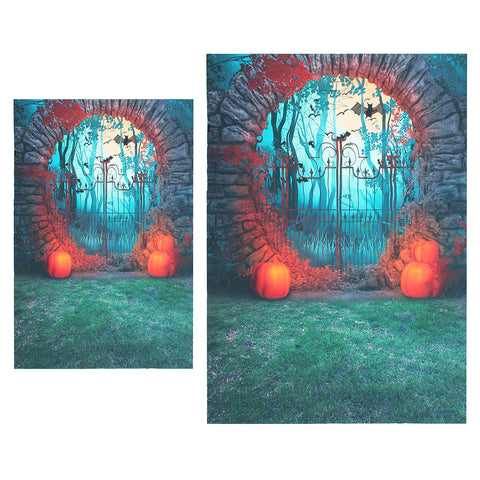 Spooky Cemetery Gate Entrance Pumpkin Bat Photography Backdrop Background