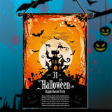 30x45cm Halloween Polyester Black Castle Bat Flag