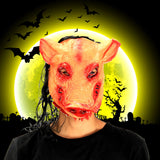 Creepy Pig Head With Black Hair Mask