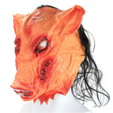 Creepy Pig Mask With Black Hair