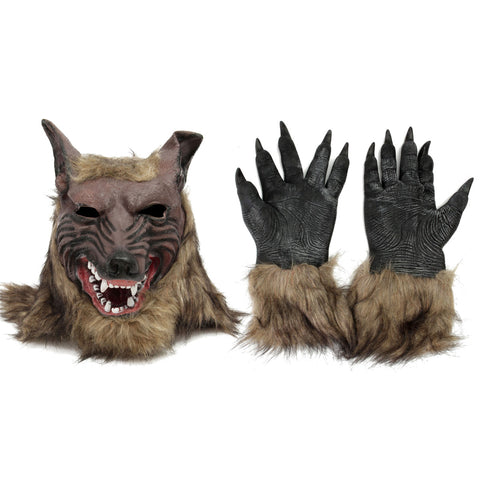 Werewolf Head Hairy Mask And Werewolf Gloves