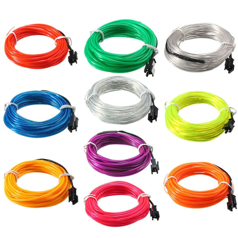 5M EL Led Flexible Soft Tube Wire Neon Glow Rope 12V