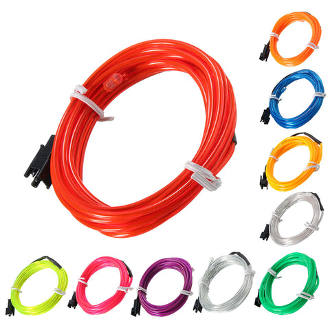 2M EL Led Flexible Soft Tube Wire Neon Glow Rope Strip DC 12V