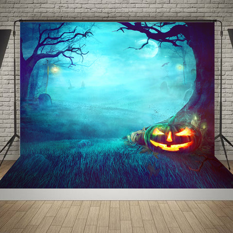 1.5 x 2.1m Spooky Graveyard Pumpkin Trees Studio Photography Background Backdrop