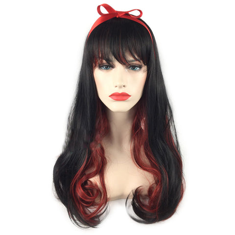 Long Black And Red Wig