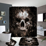 Skull Shower Curtain And Toilet Cover With Mat