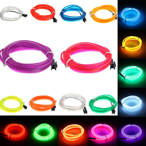 1M Led Flexible EL Wire Neon Glow Light Rope Strip 12V