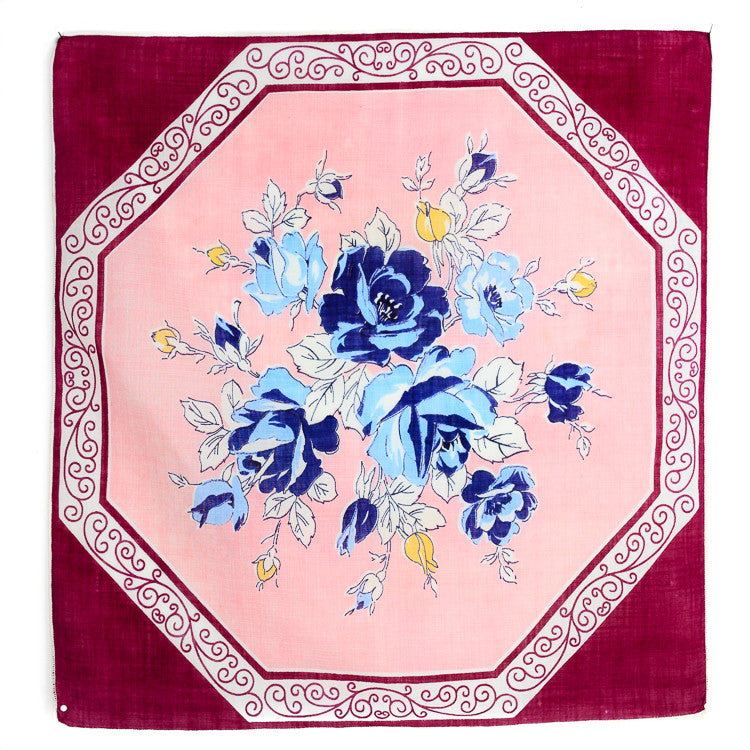 Vintage Pocket Square: Floral Hexagon