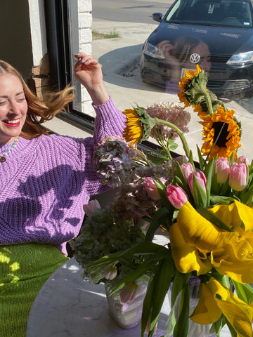 Amber LaFrance with flowers