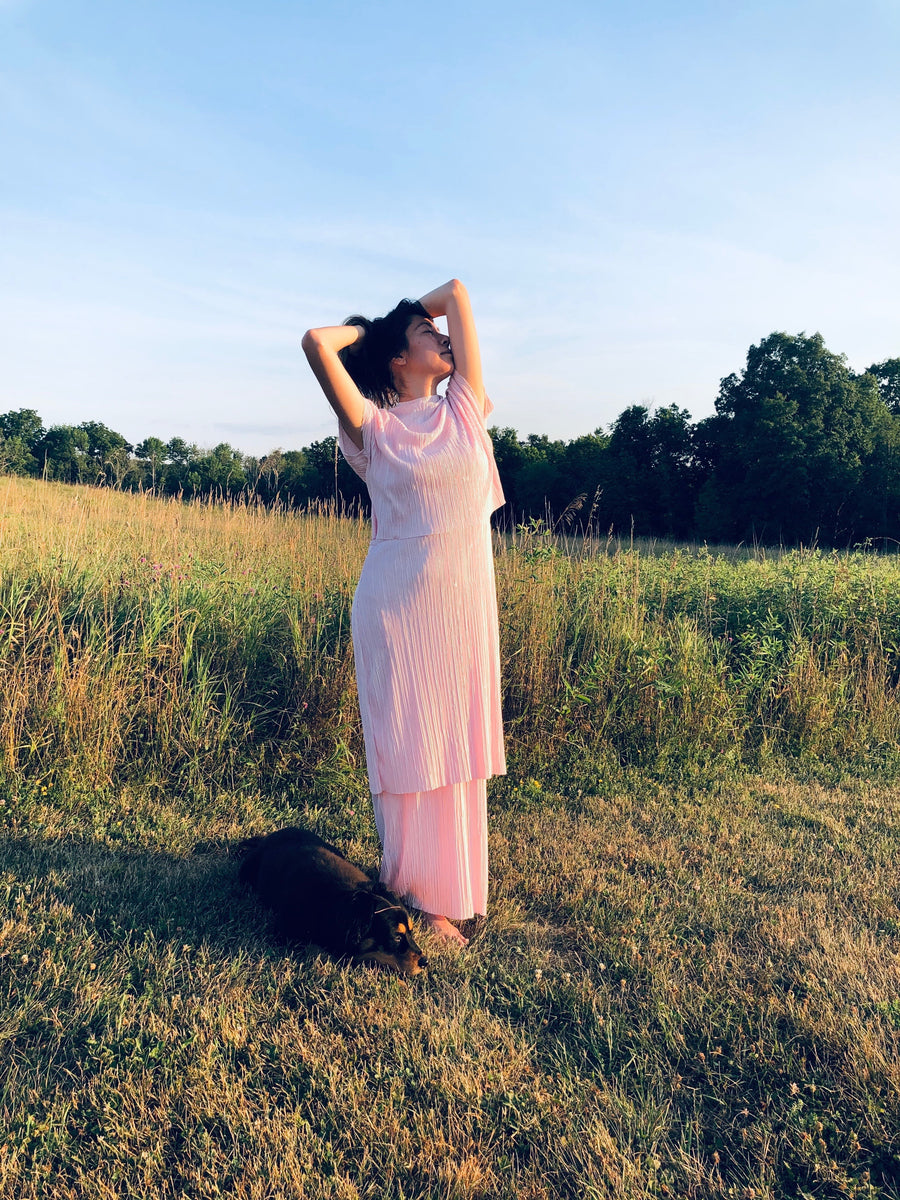 long pleated pink dress worn by woman standing in a field
