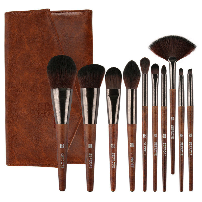 SEPROFE 10 Pcs Professional Wooden Handle Brown Soft Makeup Brush Set T695