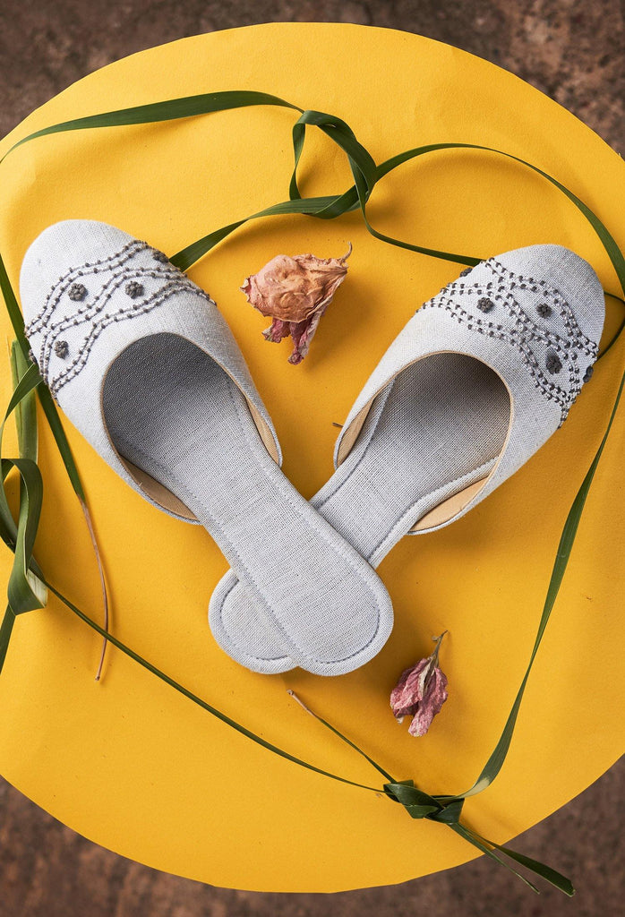 EMBROIDERED COVERED SLIP ONS BY SEPTEMBER SHOES - Hemis