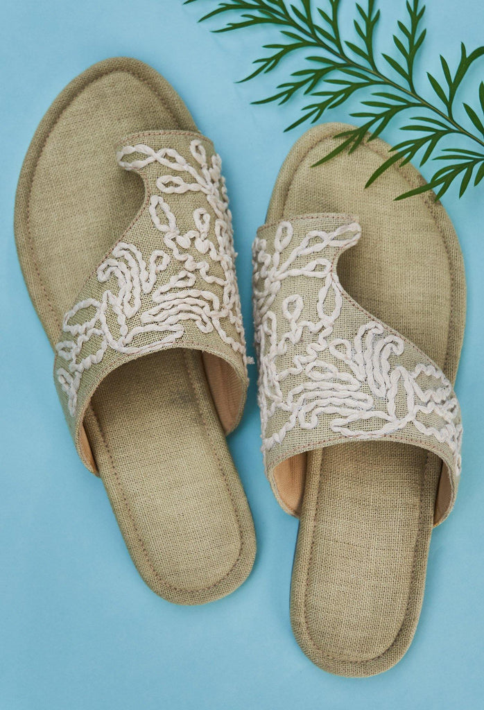 EMBROIDERED HEMP FLATS BY SEPTEMBER SHOES