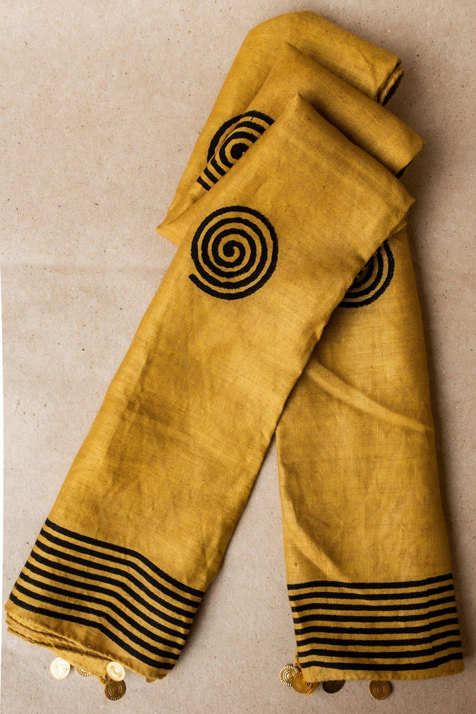 Block Printed Hemp Scarf - Hemis