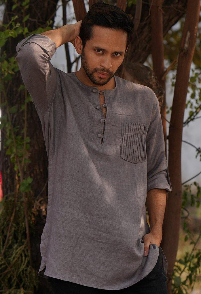 Pleated Pocket Kurta Shirt