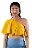 Partita one shoulder cape style crop top - Hemis