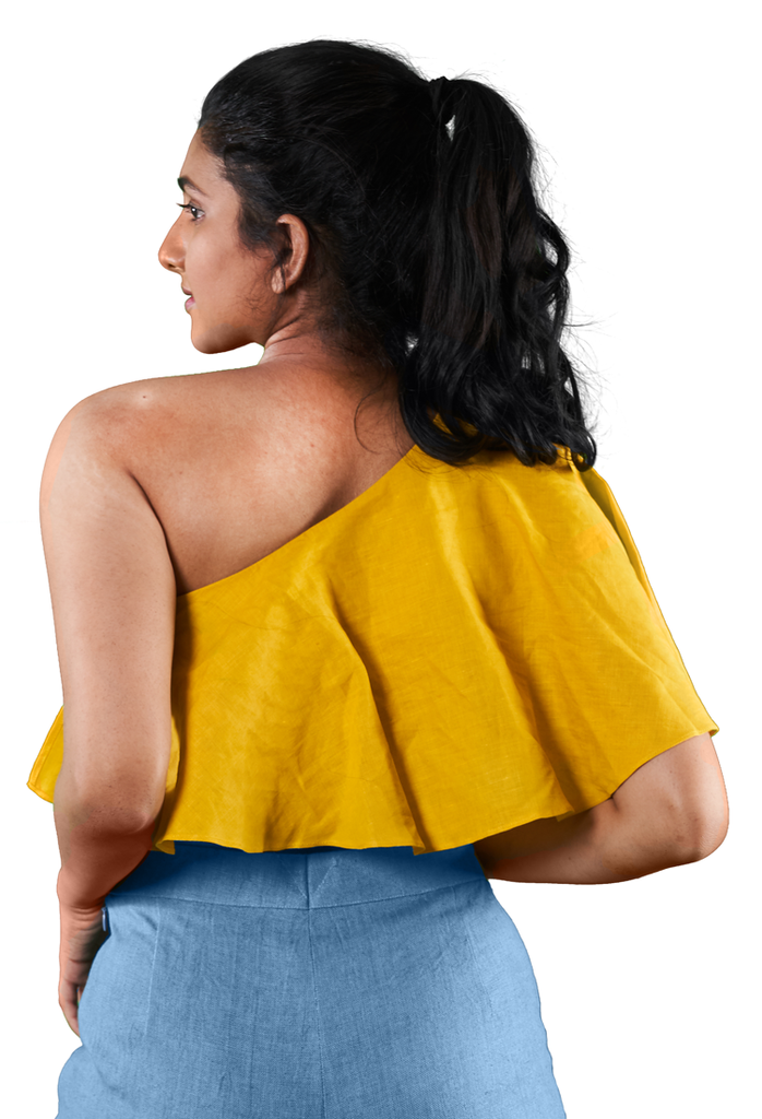 One Shoulder Crop Top - Yellow - Hemis