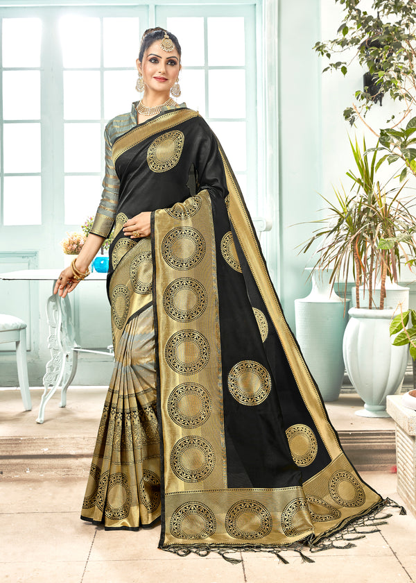Black Color Banarasi Art Silk Occasion Wear Saree