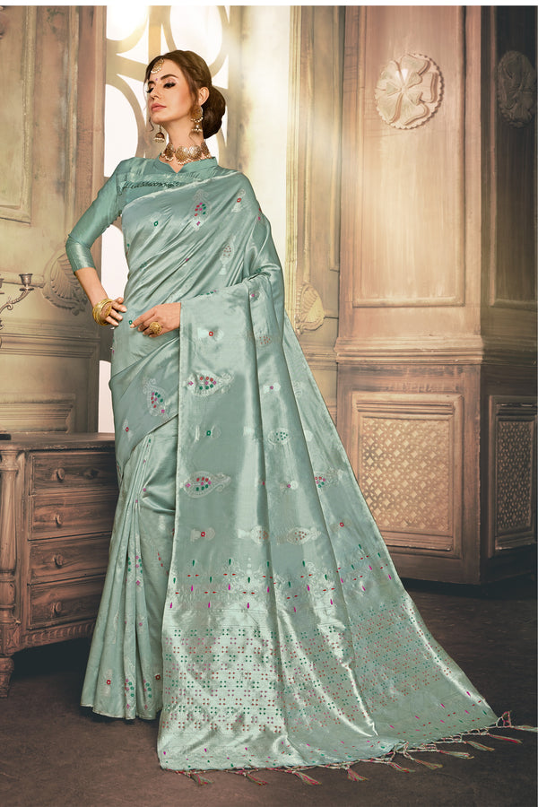 Turquoise Color Woven Design Party Wear Saree