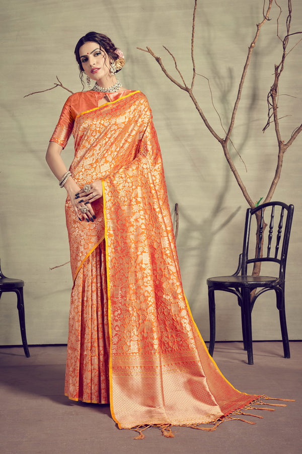 Gold Color Kanjeevaram Art Silk Party Wear Saree