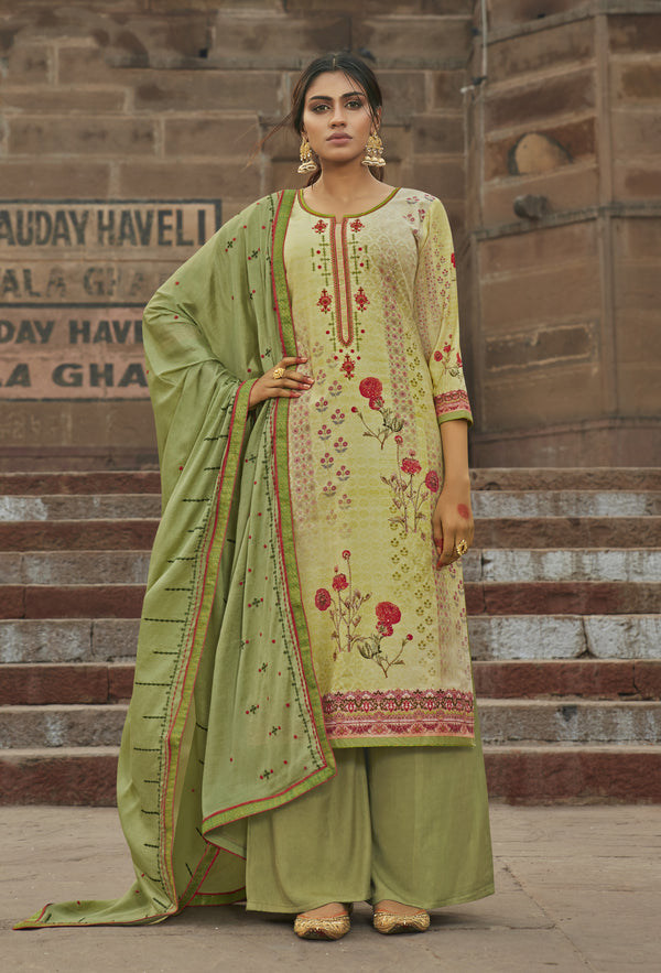 Light Green Color Maslin Embroidered Unstitched Dress Material