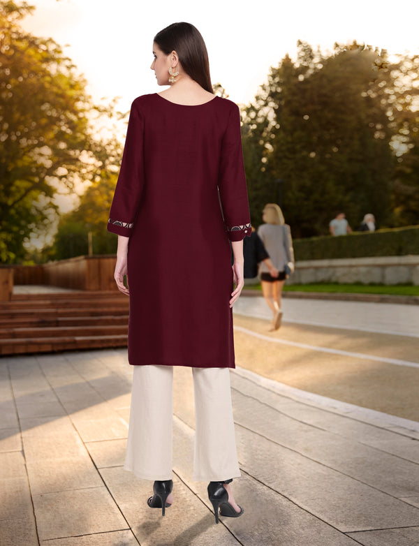 Maroon Color Embroidered Rayon Flex Kurti