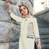 Beige Color Embroidered Rayon Flex Kurti