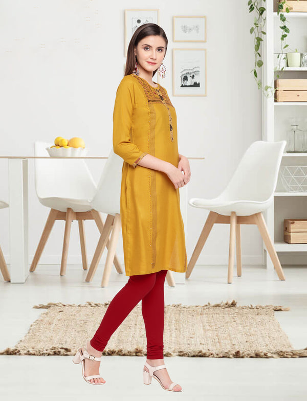 Golden Rod Color Embroidered Rayon Flex Kurti