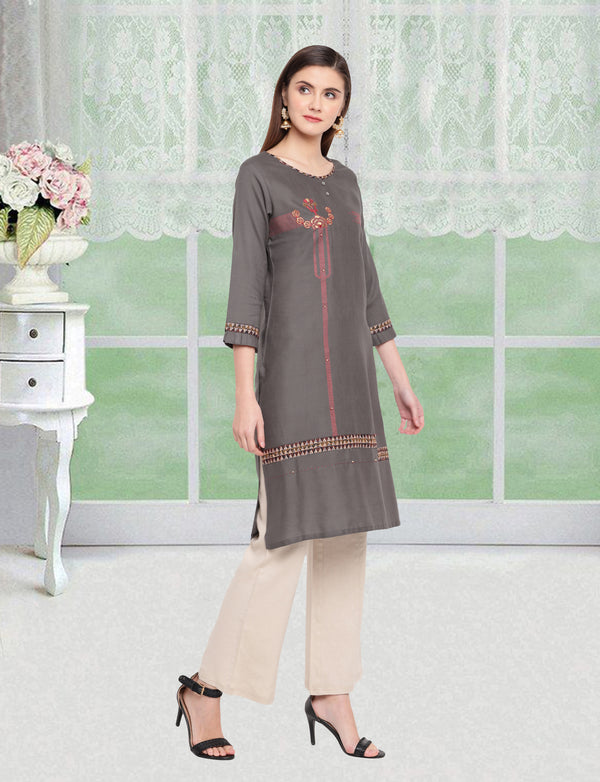 Grey Color Embroidered Rayon Flex Kurti