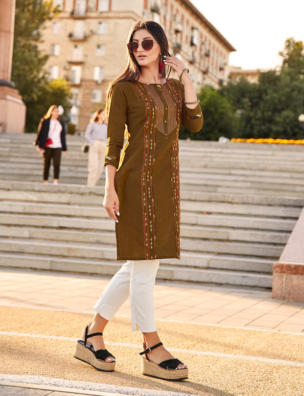 Dark Olive Color Embroidered Rayon Flex Kurti