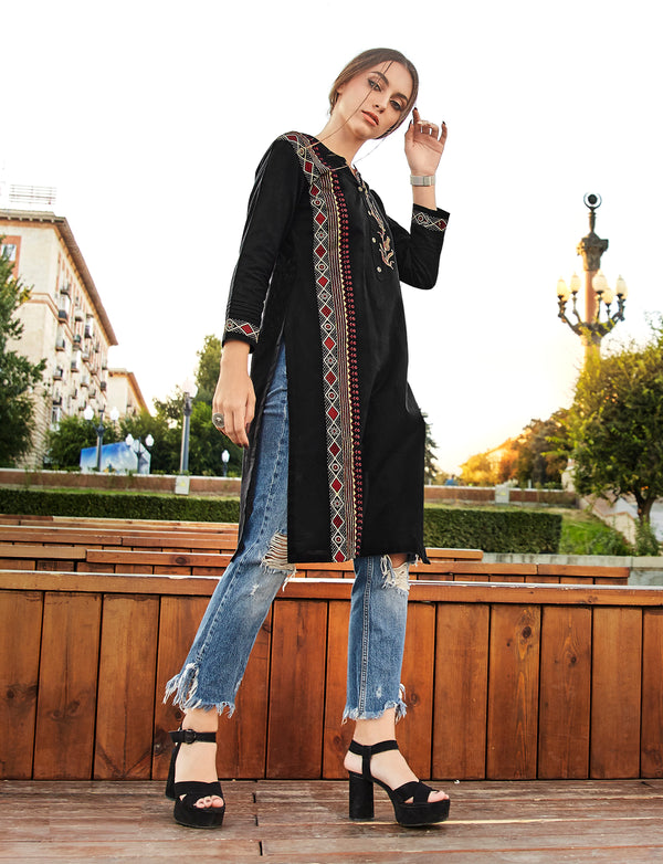 Black Color Embroidered Rayon Flex Kurti