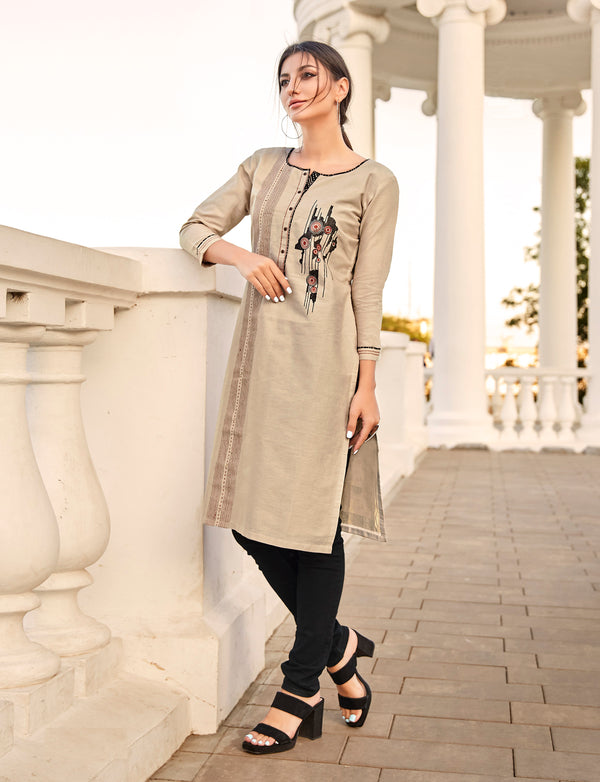 Antique White Color Embroidered Rayon Flex Kurti