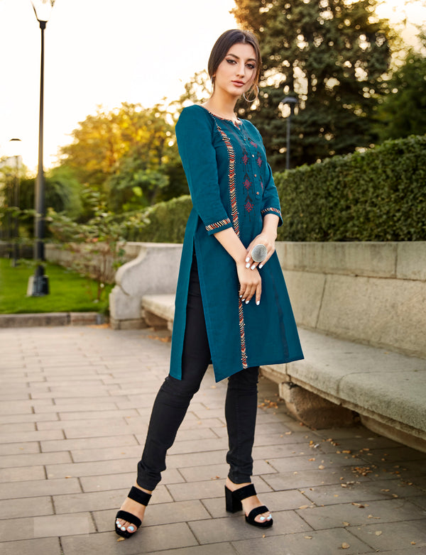 Blue Color Embroidered Rayon Flex Kurti