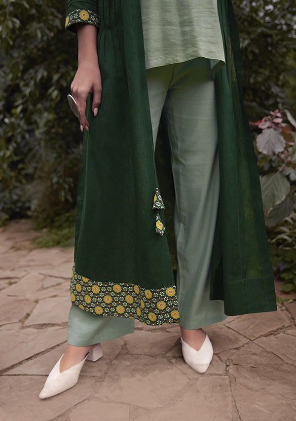 Dark Sea Green Color Handwork Top Stright Pant And Shrug