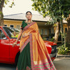 Orange And Green Color Georgette Hand Embroidery Work Saree