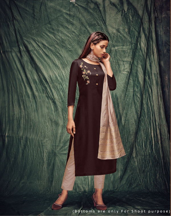 Purple Color Tusser Silk Kurti With Dupatta And Inner