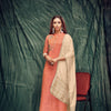 Tomato Color Banarasi Silk Kurti With Dupatta And Inner